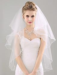 Véu de casamento véu de duas camadas, lápis, borda, organza, casamento, acessórios