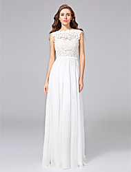 A-Line Jewel Neck Sweep / Brush Train Chiffon Lace Wedding Dress with Sash / Ribbon Bow Button by LAN TING BRIDE®