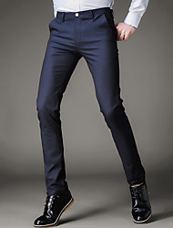 Men's Mid Rise Micro-elastic Business Pants,Simple Slim Solid
