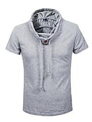 Camiseta Casual Simples Verão,Sólido Azul Branco Marrom Cinza Algodão Gola Alta Manga Curta Opaca Média