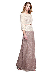 cheap -Sheath / Column Jewel Neck Floor Length Lace Mother of the Bride Dress with Bow(s) Sash / Ribbon by LAN TING BRIDE®