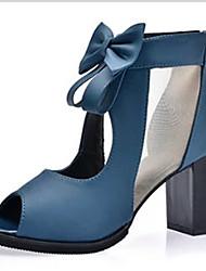 Damen High Heels T-Riemen PU Frühling Sommer Normal T-Riemen Schleife Blockabsatz Schwarz Blau 10 - 12 cm