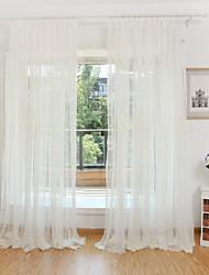 Tringle oeillets Onglet supérieur Plis double Deux Panneaux Le traitement de fenêtre Broderie Fleur Chambre à coucher Polyester Matériel