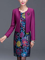 abordables -Moulante Robe Femme Sortie Grandes Tailles simple,Jacquard Col Arrondi Au dessus du genou Manches Longues Violet PolyesterPrintemps
