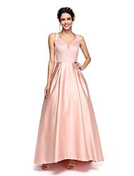 cheap -A-Line V Neck Asymmetrical Satin Bridesmaid Dress with Beading / Pleats by LAN TING BRIDE® / Sparkle & Shine