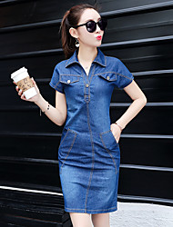 Women's Party & Evening Going out Work Vintage Cute Street chic Denim Dress,Solid Spring Summer