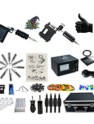 cheap -Tattoo Machine Professional Tattoo Kit 2 rotary machine liner & shader High Quality Analog power supply 2 x aluminum grip 4 x disposable