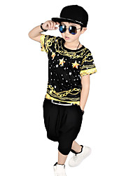 Boy's Going out Casual/Daily/Sports Print Sets Cotton Summer Short Sleeve Pants 2 Piece Clothing Set Children's Garments