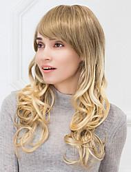 moda onda lunga naturale ombre fonde parrucca di capelli umani senza cappuccio per le ragazze e le donne 2017