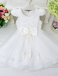 cheap -Princess Knee Length Flower Girl Dress - Lace Polyster Sleeveless Jewel Neck with Applique Imitation Pearl Satin Bow Cascading Ruffles by