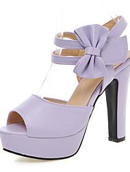 abordables -Femme Chaussures Polyuréthane Printemps Eté club de Chaussures Sandales Talon Bottier Bout ouvert Noeud La boucle du crochet pour
