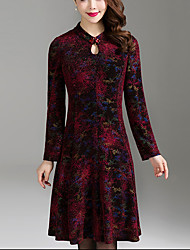 Women's Plus Size Going out Simple A Line Dress,Jacquard Beaded Stand Knee-length Long Sleeve Polyester Spandex Red Spring Fall Mid Rise
