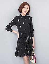 2017 primavera nova versão coreana de imprimir camisa de vestido plissado longo colar foi chiffon cintura fina saia assentamento