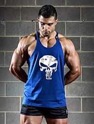 Men's Casual/Daily Beach Sports Simple Active All Seasons Tank Top,Print Deep U Sleeveless Blue Red White Black Gray Yellow Cotton Thin