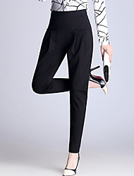 Women's Plus Size Harem Chinos Business Slim ThinTrousers Casual/Daily Work Casual Solid High Rise Elasticity Stretchy Spring Summer