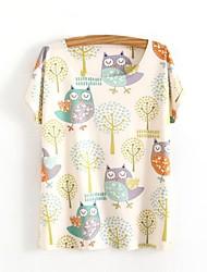 Tee-shirtImprimé Décontracté / Quotidien simple Mignon Printemps Eté Manches Courtes Col Arrondi Beige Coton Opaque