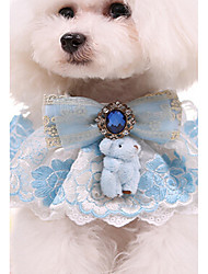 cheap -Cat Dog Collar Adjustable / Retractable Love Lace Fabric Blue Pink