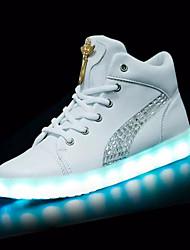 Damen-Sneaker-Outddor-PU-Flacher Absatz-Light Up Schuhe-Weiß Schwarz