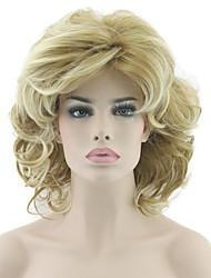 economico -Donna Parrucche sintetiche Ondulato Biondo Taglio medio corto Parrucca naturale Parrucca di Halloween Parrucca di carnevale Parrucca per