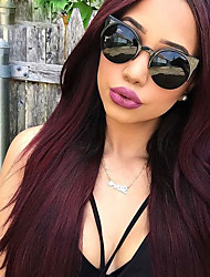 cheap -Dark Wine Color Lace Front Human Hair Wigs Straight Hair 130% Density Brazilian Virgin Hair Lace Front Wigs With Baby Hair