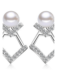 cheap -Earring 925 Sterling Silver Imitation Pearl Stud Earrings Jewelry Wedding Party Daily Casual Imitation Pearl 1 pair Silver