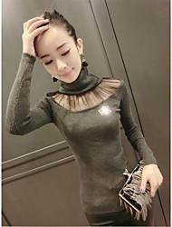 lange herfst en winter mode-Koreaanse hoge kraag netto garen stiksels dieptepunt trui jas hedging slank