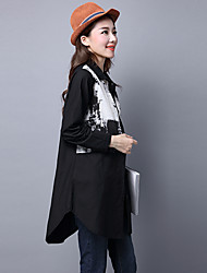 Sign spring new national wind was thin large size women loose cotton shirt and long sections