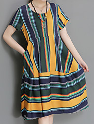 cheap -Daily Work Plus Size Vintage Boho Chinoiserie Loose Dress,Striped Round Neck Knee-length Short Sleeves Others Summer High Rise