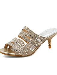 Women's Slippers & Flip-Flops Summer Comfort Customized Materials Dress Casual Party & Evening Kitten Heel Rhinestone Gold Silver Walking