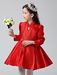 vestido de baile curto / mini vestido de menina de flor - organza mangas compridas pescoço alto com flor por ydn