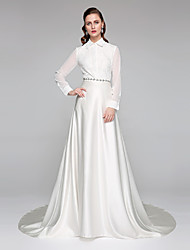 A-Line High Neck Chapel Train Chiffon Lace Satin Wedding Dress with Sash / Ribbon Bow by LAN TING BRIDE®