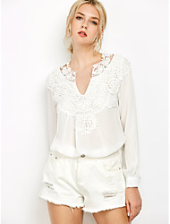 Women's Casual/Daily Cute Spring Summer Blouse,Embroidered V Neck Long Sleeve Red White Black Polyester Thin