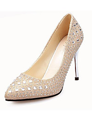 Women's Heels PU Fall Casual Outdoor Beading Stiletto Heel Gold Silver Gray Ruby 4in-4 3/4in
