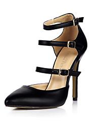 sapatos de saltos clube de verão escritório pu&festa de carreira&vestido de noite preto