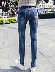 Spring new embroidered sequined cowgirl pants feet Slim stretch pencil pants jeans female