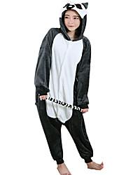 cheap -Kigurumi Pajamas Lemur Monkey Onesie Pajamas Costume Flannel Toison Black Cosplay For Adults' Animal Sleepwear Cartoon Halloween Festival
