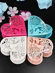 cheap -Round Square Heart Pearl Paper Favor Holder with Ribbons Printing Favor Boxes - 50