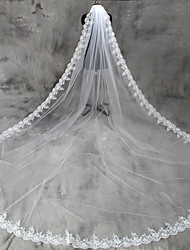 cheap -One-tier Lace Applique Edge Wedding Veil Cathedral Veils 53 Appliques Tulle