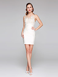 cheap -Sheath / Column Jewel Neck Short / Mini Lace Satin Wedding Dress with Appliques Side-Draped by LAN TING BRIDE®