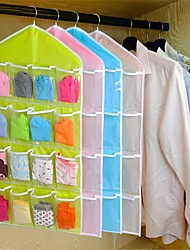 16Pockets Clear Hanging Bag Socks Bra Underwear Rack Hanger Storage Organizer  Random color