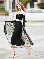 Feminino Solto Vestido, Para Noite Casual Simples Sólido Decote Redondo Médio Manga Longa Branco Laranja Algodão Poliéster Primavera Verão