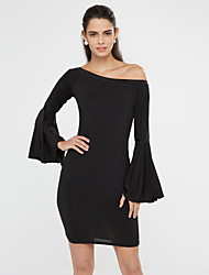 Women's Going out Club Sexy Bodycon Little Black Dress,Solid One Shoulder Mini Long Sleeves Polyester Spandex Summer Mid Rise Stretchy