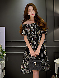 DABUWAWA Women's Going out Beach Holiday Vintage Boho Sophisticated Sheath Little Black Chiffon DressFloral Color Block Off Shoulder Knee-length