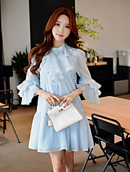 DABUWAWA Women's Going out Casual/Daily Holiday Vintage Street chic Sophisticated Shift Sheath Shirt Dress,Solid Round Neck Above Knee ¾ Sleeve