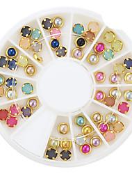 60pcs coloré décorations perle métal d'art chants des ongles