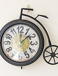 Traditional Country Antique Retro Holiday Music Iron Bicycle Family Wall ClockNovelty Wood Plastic 27.5*22.5*5 Indoor/Outdoor Indoor Clock