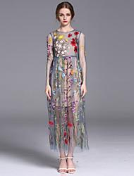 Largo Vestito Da donna-Casual Vacanze Semplice Romantico Fantasia floreale Rotonda Medio Manica lunga Blu Rosa Modal PoliesterePrimavera