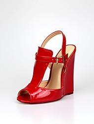 economico -Per donna Scarpe PU (Poliuretano) Primavera Autunno Club Shoes Tacchi Zeppa Punta tonda per Serata e festa Nero Rosso