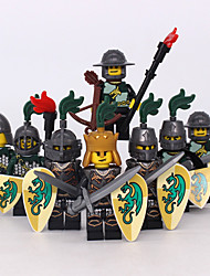 Building Blocks Block Minifigures Toys Warrior Castle Horse Military 8 Pieces Boys Boys' Gift