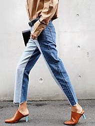 корейская версия новой талии джинсы женщин прямыми краями ударил ретро цвет сшивание был тонкий дикий широкий ноги штаны прилива